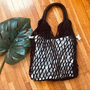 Mango Black Crochet Bag With Lining Bag